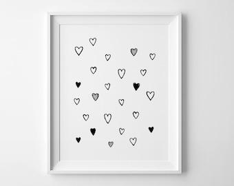 Printable art, wall art prints, nursery decor, heart print, nursery art, wall art printable, mini learners nursery print, affiche scandinave