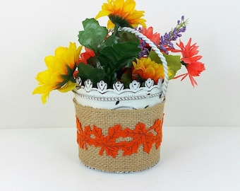 Burlap wrapped metal basket yellow and orange flowers and autumn trim 121