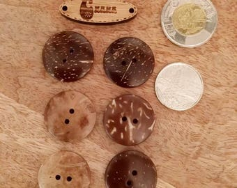 set of 6 wooden Brown, Brown coconut buttons