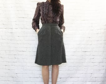 Vintage 70s Does 40s Gray Wool Pleated Pockets High Waist A-Line Skirt XS S