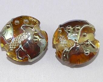 Handmade Lampwork beads Earring Pair Golden Shards Silver Glass SRA