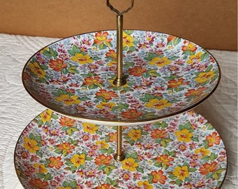 Falcon Ware Pottery two tier cake stand in beautiful and bright chintz pattern.