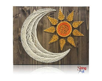 Sun and Moon DIY String Art Crafts Kit - String Art Kit, Sun and Moon Decor, DIY Kit, Crafts for Adults, Gift for Mom, Mother's Day Gift