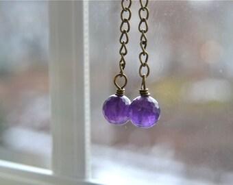 Long Dark Amethyst Earrings with Antiqued Brass Lever Backs Handmade in Maine from North Atlantic Art Studio