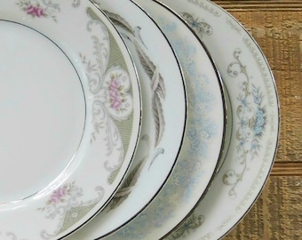 Mismatched Vintage Dessert Plates Set of 4 Plates for Wedding, Platinum Band Replacement China