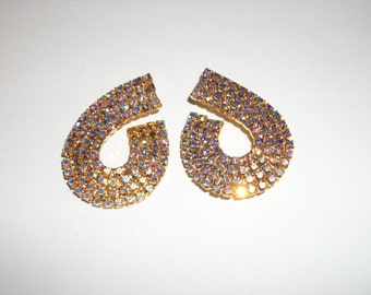 vintage pair of pierced Rhinestone earrings