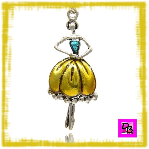 Pendentif danseuse de ballet [Gold and blue]