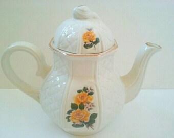 Vintage Ceramic Arthur Wood Teapot, Made In England, Arthur Wood, Vintage Teapot, Flower Teapot, Yellow Roses.