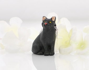 Black Cat Pendant Kitty Necklace Knight -Cat Necklace -Black Kitty -Cat Jewelry -Cat Lover Jewelry -Cute Cat -Cat Lady Gift -Cat Lover Gift