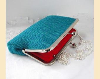 Harris Tweed clutch, tweed shoulder bag, Harris Tweed purse, clutch bag, teal, turquoise, herringbone, tweed handbag, red silk lining