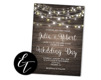 Rustikale Hochzeit Einladung String Leuchten Rustikale Hochzeit Laden Land  Hochzeit Druckbare Einladung Holz Lädt Einladung Digitaler Download