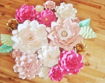 Set of 16 Paper Flowers - Baby Nursery Decor | Paper Flower Backdrop | Baby Nursery | Flower Wall Art | Home Decor | Paper Flowers