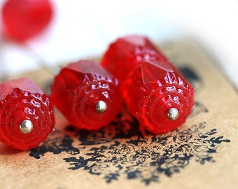 10mm Red cathedral czech glass beads, round fire polished red glass beads - 10Pc - 1307