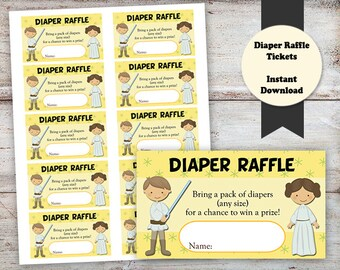 Jedi Baby Raffle Tickers, Baby Shower Raffle Tickets, Star Wars Baby Shower, Jedi Baby Shower, Raffle Tickets, INSTANT DOWNLOAD