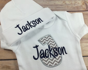 Baby Boy COMING HOME Outfit - Newborn Baby Boy Outfit, Blue Personalized Baby Bodysuit Outfit , Take Home Outfit Newborn Baby Boy Outfit
