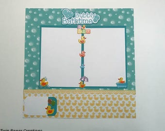 Baby Bubbly Bathtime Duckie  layout premade 12 x 12 scrapbook page.