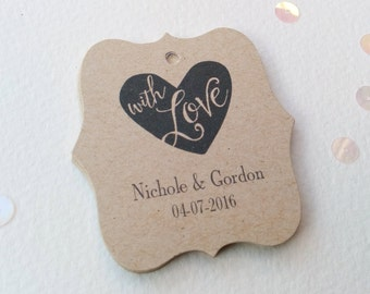 Personalized Wedding Tags, Thank You Wedding Tags, With Love Heart Favor Tags, Rustic Wedding Gift Tags, Kraft wedding tags, Set of 25