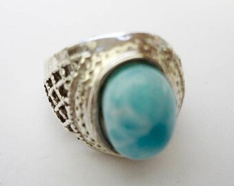 MOTHERS DAY SALE Stunning Genuine Aaa Grade Larimar Men's Ring .925 Sterling Silver  Free U.S. Shipping  U.S. Size 10