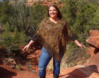Brown Leather Patchwork Fringe Poncho