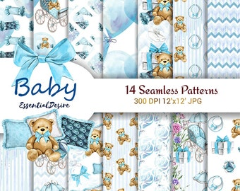 Baby Boy Paper Pack Blue Seamless Pattern New Baby Cute Set Teddy Bear Planner Accessories Printable Blue Digital Background Baby Invitation