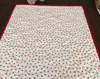 Stroller/Car Seat quilt in red polka dots