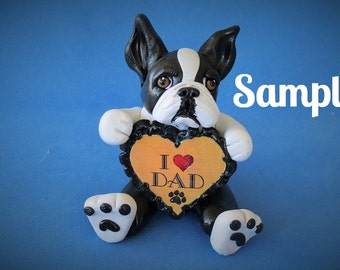 Boston Terrier Dog black and white Father's Day Sculpture love DAD OOAK Clay art by Sallys Bits of Clay