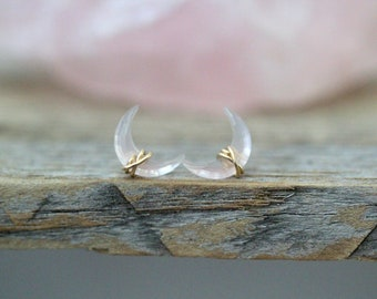 Crescent Moon Stud Earrings ,  Rose Quartz Gemstone Post in Gold , Rose Gold , Sterling Silver , Wire Wrapped Ear Climber -  Moonbeam