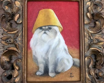 """Framed small Original Oil Painting, """"Life of the Party"""" by Lori, Cat Animal Art"""