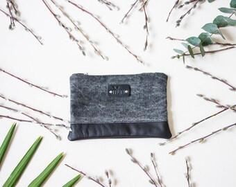 Grey denim clutch, Leather pouch, Denim pouch