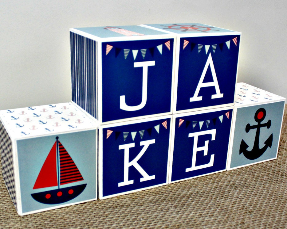 Custom baby name blocks nautical nursery decor personalized request a custom order and have something made just for you negle Gallery