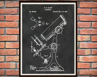 Patent 1886 Microscope - Art Print - Poster - Medical -  Doctors Office - Hospital - Wall Art - Medical Research Lab Wall Art - Microbiology