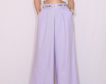 Lavender linen pants Wide leg pants  Handmade linen clothing pants with pockets trousers