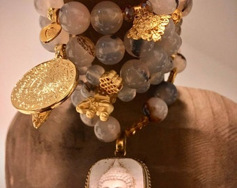 Fine Bracelets Set-natural agate-Gilded pendant/charms-100% handmade/single piece-Unique