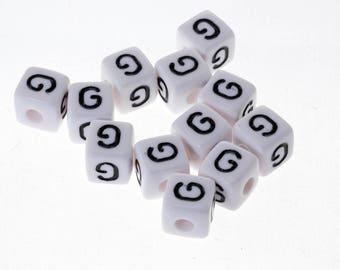 "10 Pearl White acrylic 10mm Bracelet, jewelry Alphabet letter ""G"", pacifier clip"