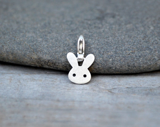 Bunny Rabbit Charm For Bracelet In Sterling Silver, Straight Ear Rabbit Charm, Handmade In The UK