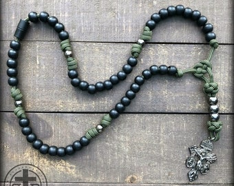 Special Triple Threat Break Away Rosary - Moss Green Sripe Paracord - Strong and Rugged