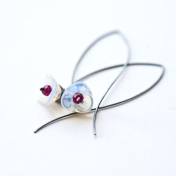 Winter Lily - Wire Wrapped opal Glass Flower and Garnet Blackened Sterling Silver Hoop Earrings