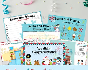Santa and Friends Treasure Hunt-Printable-Instant download-Puzzle-Games-Activities-Hunts-Party Games