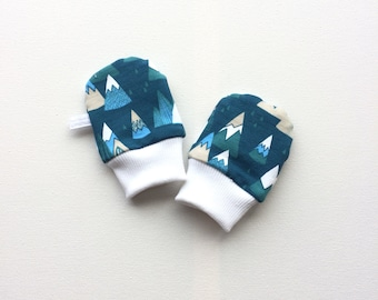 Blue scratch mitts. Baby mittens with cuffs. Baby shower gift. Sweat fabric knit fabric with mountains Gender neutral no scratch baby mitts