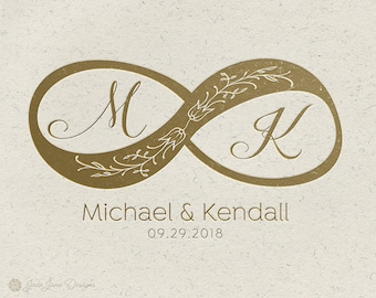 Wedding Logo Design | Infinity Symbol | Floral Wedding Logo | Calligraphy Script | Elegant Logo | Union Logo | Pre-made Wedding Stamp