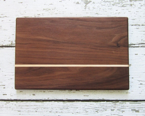 Reclaimed Walnut Cutting Board with Maple Stripe- Gift for Foodie