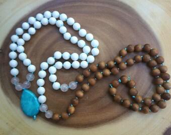 108 Bead Sandalwood, White Jade, Rose Quartz + Amazonite Pendant