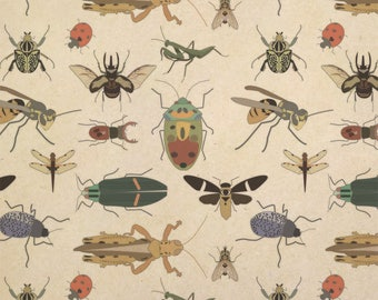 Creepy Crawly Insects Kraft Present Gift Wrap Wrapping Paper