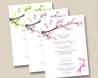 Cherry Blossoms and Dragonflies Custom Bridal or Baby Shower Invitation Design