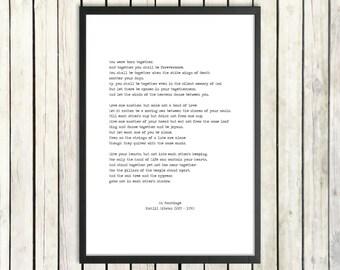 Kahlil Gibran Printable Love poem 'On Marriage' Instant Download 'The Prophet' Newlywed Gift Wisdom Print Wedding Poem Minimalist Poster