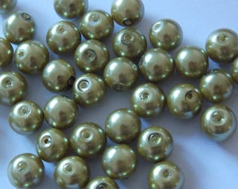 Set of 30 olive 8mm round pearls