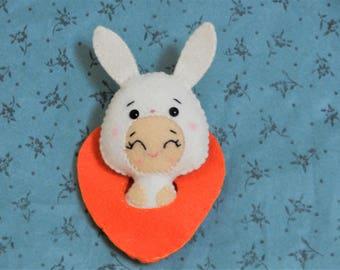 Felt Easter Bunny Carrot Sac Softie Plushie Favor by Noialand