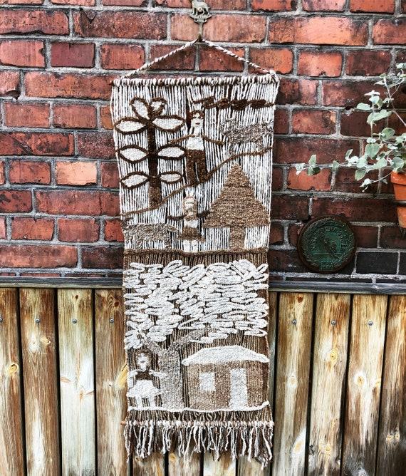 Vintage handwoven macrame wall hanging /fiber art with amazing texture/boho / midcentury modern natural fibers/ hygge Scandinavian