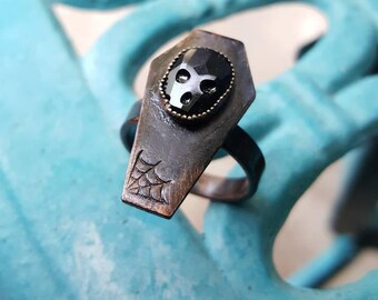 Dark Coffin copper ring, black patina coffin ring, death ring, goth ring, coffin ring, Bff gift, jeweled coffin ring, adjustable coffin ring