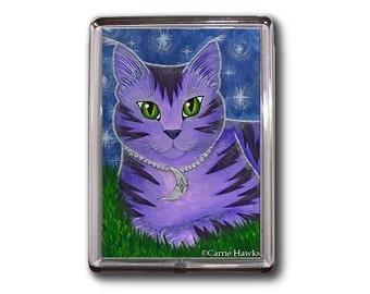 Moon Cat Magnet Astra Purple Cat Celestial Cat Stars Fantasy Cat Art Framed Magnet Cat Lovers Gifts